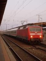 BR 120/185448/am-16032012-fuhr-120-101-mit Am 16.03.2012 fuhr 120 101 mit dem Wawel EC 248 in Stendal ein so das er 18:03Uhr die Fahrt nach Hamburg Altona fortsetzen kann.